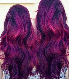 20 Plum Hair Color Ideas for Your Next Makeover Long Purple Hair With Fuchsia Highlights Cute Hair Colors, Beautiful Hair Color, Hair Dye Colors, Cool Hair Color, Magenta Hair Colors, Long Purple Hair, Burgundy Hair, Plum Hair Dye, Dyed Hair