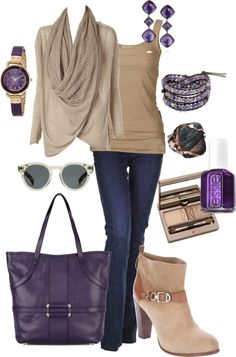 """Tan and Purple"" by alison-louis-ellis on Polyvore"