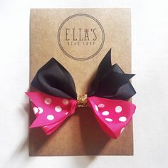 Items similar to Minnie Mouse hair bow on Etsy Bow Shop, Hair Bows, Minnie Mouse, Etsy Seller, Create, Unique Jewelry, Handmade Gifts, Lovers, Ribbon Hair Ties