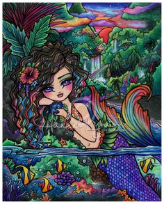 Original Fantasy Artwork Coloring Books by Hannah Lynn! Bright and Magical Fantasy Art Mermaids, Fairies, Princesses and more! Artist Trading Cards, Fantasy Art Prints, Original Paintings, Adult Coloring Books, Digi Stamps, and more.