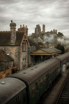 Old railway line at Corfe Castle, Dorset. Built in the 11th century by William the Conqueror.