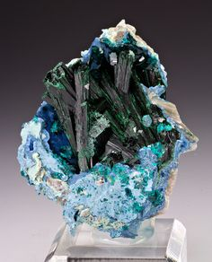 Malachite with shattuckite and dioptase; Kunene Region, Namibia