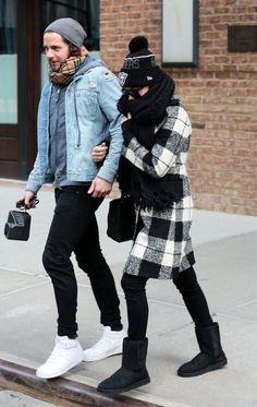 Margot Robbie wearing Fendi 2jours Small Textured-Leather Shopper, New Era Oakland Raiders Sideline Sport Beanie, Ugg Australia Classic Short Boots and Fay Fall 2015 Coat