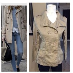 Trench coat Short style trench coat in beautiful khaki color and matching buttons. NOTE: coat is in great shape but it's missing the belt. My girl took the belt off because she liked it better without - its tapered beautifully. 100% cotton, Size M by Last Kiss Jackets & Coats