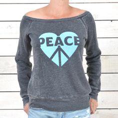 PEACE Love ~ Wide Neck Fleece Sweatshirt