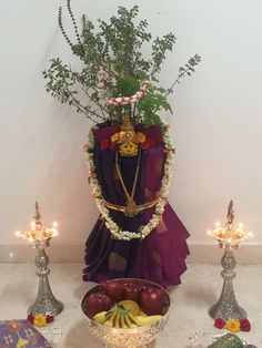 · Decorate the pooja mandapm with Mango leaves & small Banana saplings on both the sides of the mandapam. Chhat Pooja, Tulsi Vivah, Tulsi Plant, Diwali Decorations At Home, Pooja Room Design, Lord Shiva Painting, Lord Murugan, Paper Bowls, Rangoli Designs Images