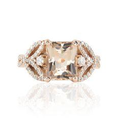 Rose Gold Engagement Ring  8x10mm Radiant cut Morganite Ring