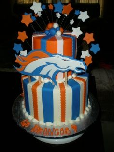 Denver Broncos Layer Cake Stephens birthday is coming up