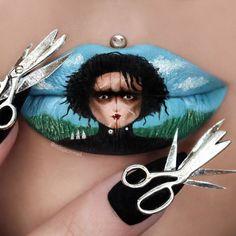 Les créations lip-art de Jazmina Daniel : Edward aux mains d'argent
