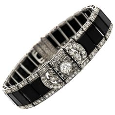 Art Deco Onyx Diamond Platinum Bracelet | From a unique collection of vintage more bracelets at https://www.1stdibs.com/jewelry/bracelets/more-bracelets/