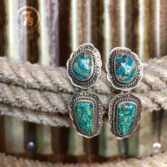 The {new} Layla Earrings  one of a of a kind hand crafted Chrysocolla Turquoise and Sterling Silver beauties! #elegantranch #soinlove #turquoise #myweakness #savannah7s