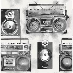 Fine Decor Ghetto Blaster Boom-box Wallpaper in Black and White. Music Wallpaper, Room Wallpaper, Wallpaper Roll, Pattern Wallpaper, Pink And Green Wallpaper, Feature Wall Bedroom, Boombox, Box Design, Graffiti