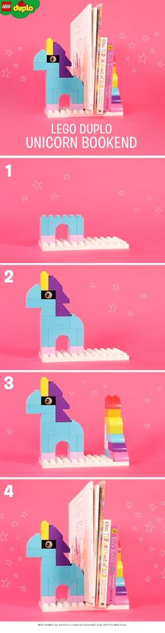 Magical LEGO DUPLO unicorn bookends like these would be perfect bedroom accessory for your book-loving pre-schooler. You could build your own with just a handful of LEGO DUPLO bricks. Cool Lego, Cool Toys, Awesome Lego, Lego Duplo, Legos, Woodworking Projects Diy, Diy Projects, Unicorn Bedroom, Lego Games