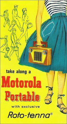 Motorola, c.1958  I wish I had one of those radios  Motorola is still a big name in radios today.