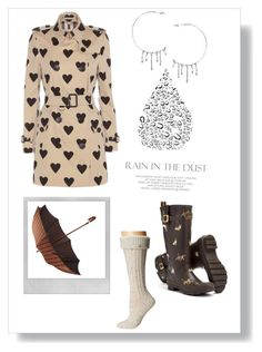 """Rain"" by tinydancer2018 ❤ liked on Polyvore featuring Burberry, Joules, UGG, Polaroid, Mr. Jenks and Annika Burman"