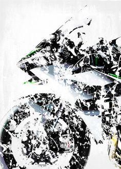 "Beautiful ""My Superbike series, artwork b."" metal poster created by Steven . Our Displate metal prints will make your walls awesome. Kawasaki Ninja H2r, Motorcycle Logo, Car Posters, Super Bikes, Katana, New Artists, Bike Life, Cool Artwork, Exotic Cars"