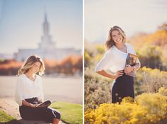 Sister missionary photos at the temple in the fall #missionary #portraitsbyandra