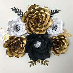Black gold and silver paper flowers for backdrop pinterest heres a paper flower set from the crafty sagittarius instant download paper flower template at mightylinksfo