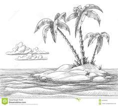 Under The Ocean Landscape Drawing - - Landscape Drawing Easy, Landscape Pencil Drawings, Drawing Scenery, Landscape Sketch, Beach Landscape, Pencil Art Drawings, Easy Drawings, Drawing Sketches, Landscape Paintings