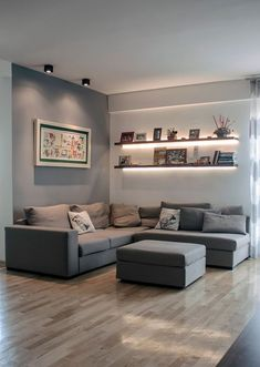 New Living Room Lighting Ideas Diy Pictures Ideas Living Room Wood Floor, Living Room Shelves, Living Room White, White Rooms, Living Room Colors, Living Room Paint, New Living Room, Living Room Sofa, Living Room Interior