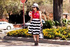 Striped Skirt   Panama Hat