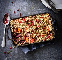 Beetroot and butternut roast with walnut crumble - use olive oil instead of butter Baked Beetroot, Beetroot Recipes, Veg Recipes, Curry Recipes, Vegetarian Recipes, Cooking Recipes, Healthy Recipes, Walnut Recipes, Vegan Meals