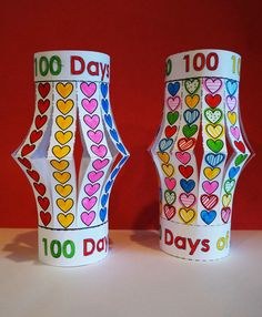 A Valentine and a 100 day project! These are so easy to make that even my Kindergartens can do them!