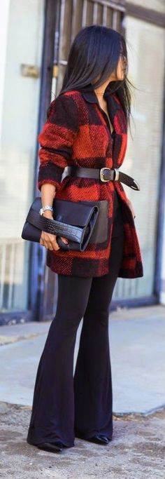 Fall fashion | Black shirt, plaid coat, belt, black flare pants, clutch