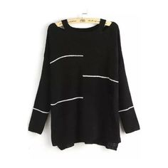 SheIn(sheinside) Striped Open Shoulder Knit Black Sweater (155 DKK) ❤ liked on Polyvore featuring tops, sweaters, black, knit sweater, black off shoulder sweater, off shoulder sweater, loose knit sweater et off the shoulder sweater