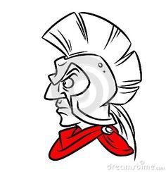 Roman warrior helmet man cartoon doodle contour illustration style black red