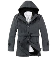 Casual Hooded Multi-Button Patch Pocket Woolen Blend Slimming Long ...