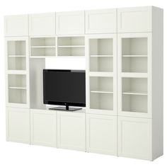 BESTÅ TV storage combination - IKEA 118 W x 15.75 D x 90.5 H. Great price $694. Online only. No reviews. What to do with TV opening in craft room? Hmm.