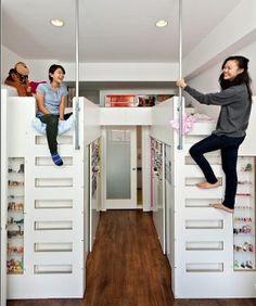 Walk in closet under the beds