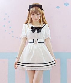 Japanese fashion institute of younger sister bowknot navy brought the cowboy two-piece braces skirt/H0097 · Asian fashion Kawaii · Online Store Powered by Storenvy
