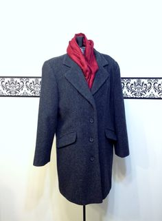 1980's Charcoal Grey Wool Pea Coat by by RetrosaurusRex on Etsy