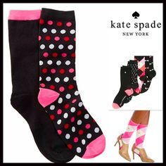 2 Pairs of Kate Spade Trouser Boot Socks  NEW WITH TAGS    2 Pairs of Kate Spade Trouser Boot Socks   * Super soft & comfortable fabric   * Opaque Knit construction (not sheer).   * Stretch-to-fit   * One size fits most; Pull on & to the mid calf style ****The Kate Spade socks on the model in the cover photo are for styling purposes only & to show length. ***   Fabric: 63% Cotton, 35% Polyester & 2% spandex; Machine wash  Color: Black, White & Pink combo   No Trades ✅Bundle Discounts✅ kate…
