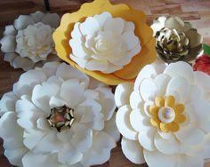 Set of 5 Large Paper Flowers Multicolour by DreamEventsinPaper