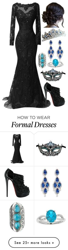 """Untitled #687"" by fatimaflores123 on Polyvore featuring Masquerade, Tribe, Christian Louboutin and CZ by Kenneth Jay Lane"