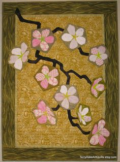 Art Quilt  Cherry Blossoms on Gold by TerryAskeArtQuilts on Etsy,