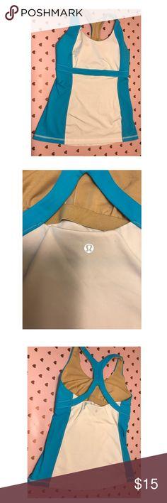 Lulu lemon size large top with built in bra Gently worn lulu lemon top with built in bra! Tops