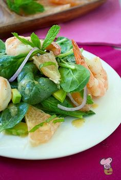 Shrimp Salad Recipe  : Here's a healthy lunch idea that's fresh and flavorful. This easy shrimp salad combines the bright citrus flavor of pink grapefruit with shrimp, spinach, mint and avocado for a quick, tasty lunch.