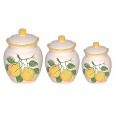 Found it at Wayfair - Lemon Design 3 Piece Deluxe Canister Set