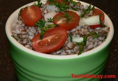 Buckwheat Salad With Grape Tomatoes, Cucumbers, Onions, Dill, Parsley: http://www.tastygalaxy.com/cook/buckwheat-salad-with-grape-tomatoes-cucumbers-onions-dill-parsley/