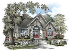 The Hemphill House Plan - Front Color Cottage Floor Plans, Country House Plans, House Floor Plans, Cottage House Designs, Cottage Homes, Narrow Lot House Plans, Narrow House, Vintage House Plans, Exterior Remodel