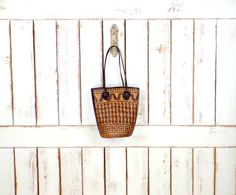 Vintage brown leather wicker rattan woven boho handbag/straw leather tote purse/straw basket bag by GreenCanyonTradingCo on Etsy