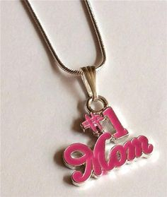 Silver #1 Mom Necklace Pendant Pink Enamel Mum Mother's Day Gift USA Seller #SouthMiamiBeachBoutique #Pendant