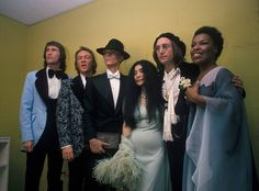 Bowie, John Lennon, Yoko Ono, Roberta Flack, Bill Medley and Bobby Hatfield (of the Righteous Brothers) backstage at the Uris Theatre before the Grammy Awards on March 1, 1975, New York City