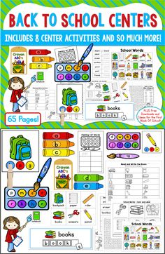 NEW Back to School Centers, Word Work, and Activities:  65 Pages in all! Great for K-2.