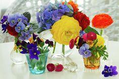 Colorful freshly cut #flowers in glass vases on white table by Anastasy Yarmolovich #AnastasyYarmolovichFineArtPhotography