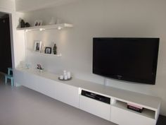Possible wall solution for our floor living room/extra sleeping space/tv room Living Room Wall Units, Living Room Interior, Living Room Designs, Living Room Decor, Fashion Room, Home Fashion, Small Apartments, Small Spaces, Hanging Tv On Wall